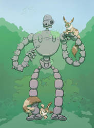 Robot and fox squirrels by mogstomp