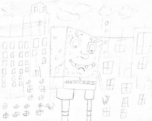 Giant SpongeBob In The City by furstman