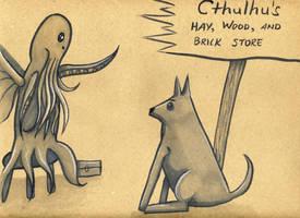 Mr. Big B. Wolf and Cthulhu by Watyrfall