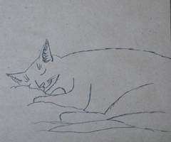 sleeping cat doodle by Watyrfall