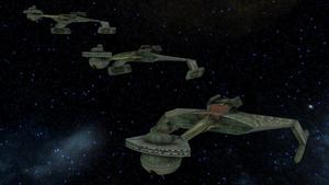 Klingon K't'inga-class Battlecruiser Squadron by DRWolfe