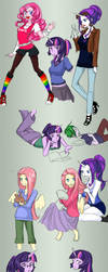 MLP: College AU sketchdump by klinanime