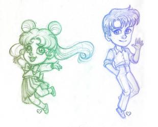 Usagi and Mamoru col-erase chibis by Annorelka