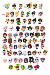 Mini Rainbow Chibis by pekou