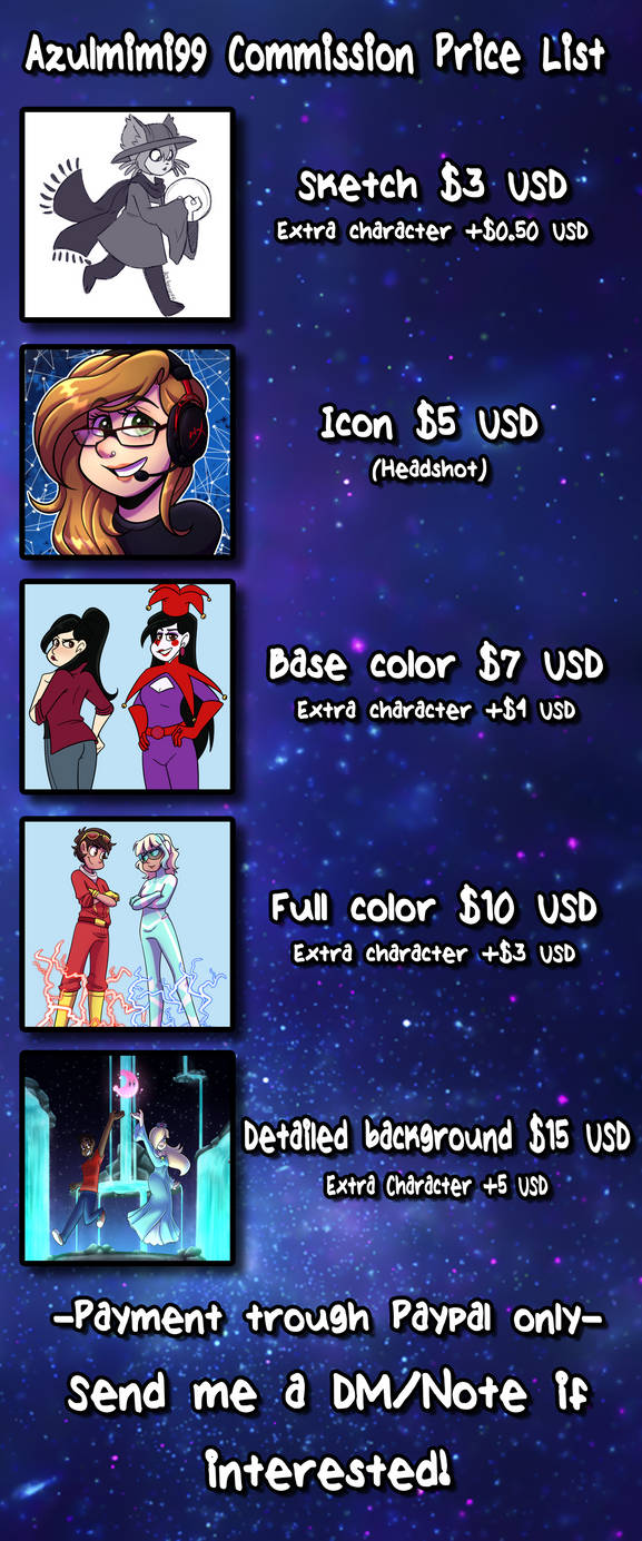 Commissions Price List by azulmimi99