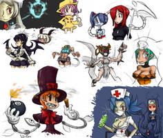 Skullgirls doodles by J-j-a-y