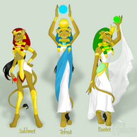 Egyptian Lion Goddesses by hanahakisack