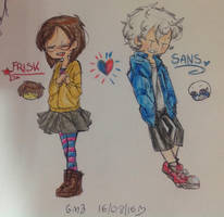 Frisk and Sans by SeaPencil099