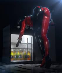Harley Quinn getting a beer by RedDoe