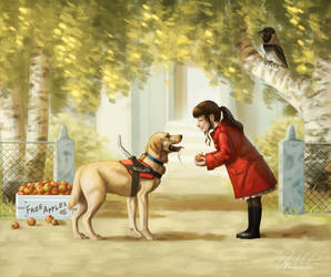 Girl and her Guide Dog by ImaginaryRat