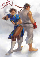 Chun Li and Ryu by crunchynougat