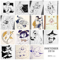 Inktober Part 2 by Bucketfox
