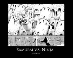 samurai v.s. ninja by Kh2ff