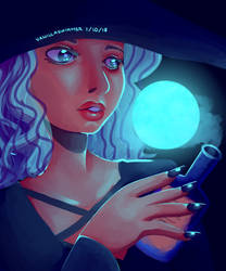[Inktober] Day 1: Moon by VanillaSwimmer