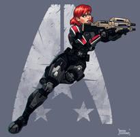 Commander shepard, alliance pin-up by FonteArt