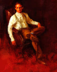 Portrait of a young man with blue socks by JALpix