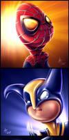 Cute Superheroes by drewbrand