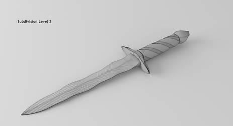 Damascus Steel Flamberg Dagger 14 Subsurf 2 by rudm