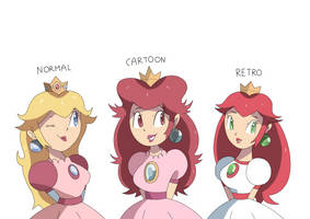 Peach in three different versions ! by Alessia-Nin10doh