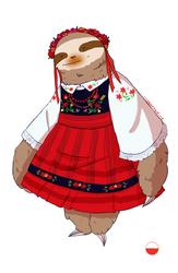 Polish Sloth - National Dress Sloths by IllustratedJai