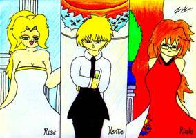 Kenta,Risa and Rinko: Three Year Anniversary by lordtrigonstar