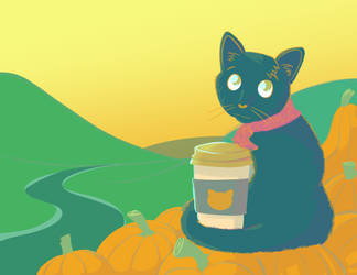 Blue Cat Pumpkin Latte by JellyfishBunny