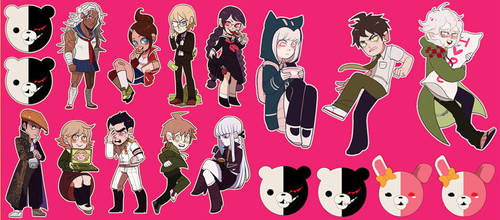 Dangan Ronpa+SDR2 sticker set by Shilloshilloh