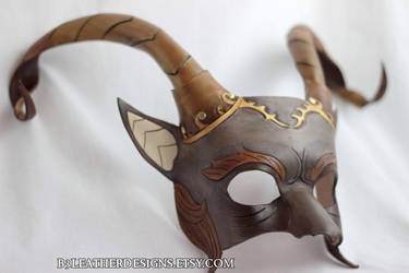Satyr/Pan Leather Fantasy Mask by b3designsllc
