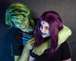 Raven and Beast Boy (casual) 5 by ThePuddins