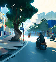 Hanoi summer street/ sketch by cloudintrousers