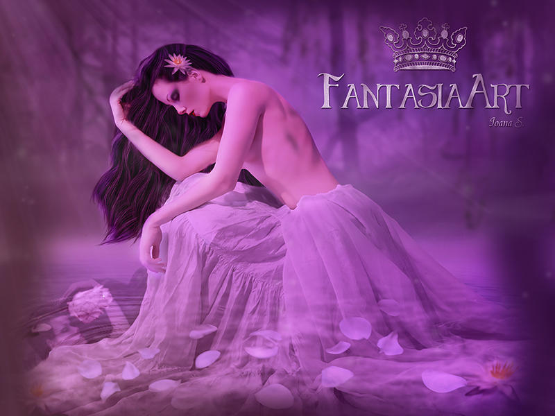 I was born amidst the purple waterfalls by Fantasia-Art