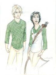 Peeta and Katniss by burdge