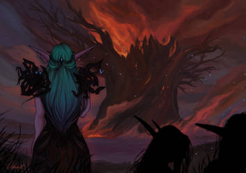 The Burning of Teldrassil by NekrokatArt