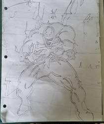 Venom pencil drawing from spider-man by nitinrajput90
