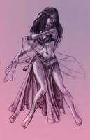Belly Dancer Sketch by kungfubellydancer