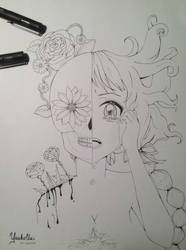 The girl and skull of flowers by YuukoChii