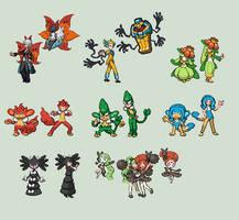 Gen V Pokemon Gijinka sprites by Akuma-Tsubasa