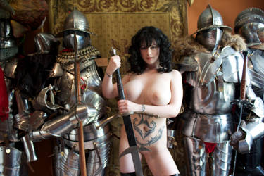 Naked girl with Armor by HotMedievalBabes