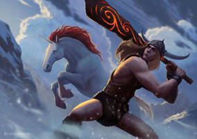 Bobby the Barbarian and Uni, the Unicorn by RoBs0n