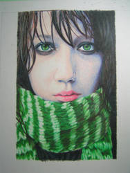 Girl with the Green Scarf by vanillain0cence