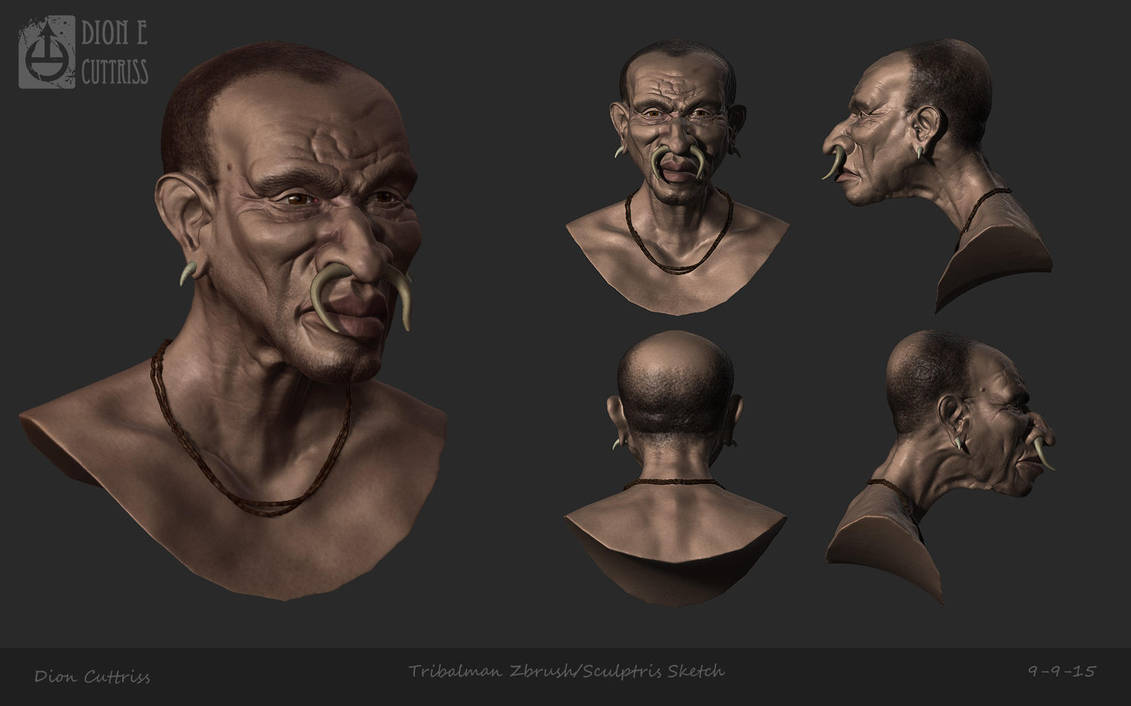 Tribalman Caricature - Zbrush/Sculptris Sketch by thadeemon