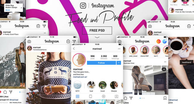 FREE Instagram Feed and Profile PSD UI 2018 by MarinaD
