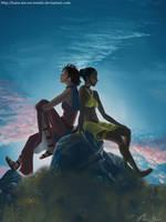Beautiful world- Hana and Aena by Hana-me-no-tenshi