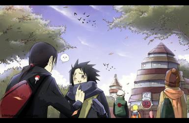 Sasuke's first day of school by Kibbitzer