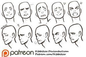 Facial Expressions reference sheet by Kibbitzer