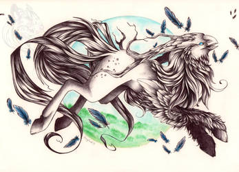 Prancing hippogryph by Idlewings