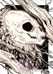 Bat Skull Postcard by Idlewings