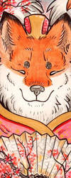 Blossoming Kitsune Bookmark art by Idlewings