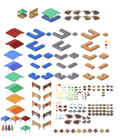 Isometric fish and vegetable market components by Johasu