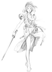 girl with chinese sword by zhoupeng